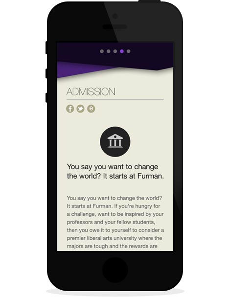 Furman Admission mobile
